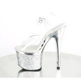 Transparente 18 cm ESTEEM-708CHLG plataforma sandalias de tacón pole dance plata