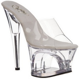 Transparente 18 cm Pleaser MOON-701 Plataforma Mules Altos