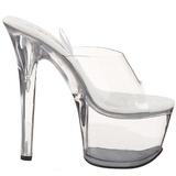 Transparente 18 cm TREASURE-701 mules stripper con plataforma