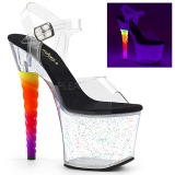 Transparente 18 cm UNICORN-708MG Zapatos con tacones pole dance