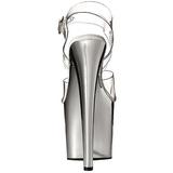 Transparente 19 cm TABOO-708 Zapatos Tacón Aguja Cromo Plataforma