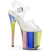 Transparente 20 cm Pleaser FLAMINGO-808RT Zapatos con tacones pole dance