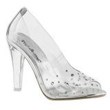 Transparente Cristal 10,5 cm CLEARLY-420 Zapato Salón para Fiesta con Tacón