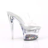 Transparente Luz LED 18 cm FLASHDANCE-702SQ Plateau Mulas Tacones Altos Mujer