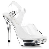 Transparente Strass 12 cm GRACE-408 Plataforma Zapatos Tacón Alto