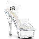 Transparente Strass 15 cm KISS-208SD Acrilico Zapatos Tacón Alto