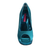 Turquesa Satinado 13,5 cm BELLA-12R Strass Plataforma Zapato Salón