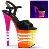 Variopinto Neon 20 cm Pleaser FLAMINGO-809UVLN Plataforma Tacones de Aguja