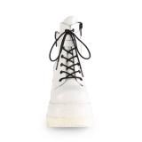 Vegano 11,5 cm SHAKER-52 botines cuña alta plataforma blanco