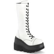 Vegano 11,5 cm SHAKER-72 góticos botas de cordones mujer plataforma blanco