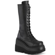 Vegano 11,5 cm SHAKER-72 góticos botas de cordones mujer plataforma negro