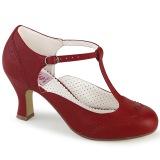 Vegano 7,5 cm FLAPPER-26 retro vintage zapatos de salón t correa rojo