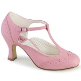 Vegano 7,5 cm FLAPPER-26 retro vintage zapatos de salón t correa rosa
