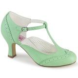 Vegano 7,5 cm FLAPPER-26 retro vintage zapatos de salón t correa verde