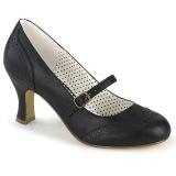 Vegano 7,5 cm FLAPPER-32 retro vintage zapatos de salón maryjane negro