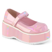 Vegano 8,5 cm DEMONIA DOLLIE-01 zapatos de salón mary jane rosa