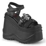 Vegano Negros 15 cm Demonia WAVE-13 lolita zapatos sandalias con cuña alta plataforma
