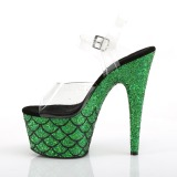 Verde 18 cm ADORE-708MSLG brillo plataforma sandalias de tacón alto