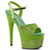 Verde 18 cm ADORE-709-2G brillo plataforma sandalias de tacón alto