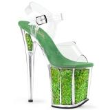 Verde 20 cm FLAMINGO-808GF brillo plataforma sandalias de tacón alto