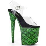 Verde 20 cm FLAMINGO-808MSLG brillo plataforma sandalias de tacón alto