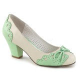 Verde 6,5 cm WIGGLE-17 Pinup zapatos de salón tacón ancho