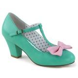 Verde 6,5 cm WIGGLE-50 Pinup zapatos de salón tacón ancho