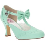 Verde 7,5 cm FLAPPER-11 Pinup zapatos de salón tacón bajo