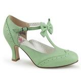 Verde 7,5 cm retro vintage FLAPPER-11 Pinup zapatos de salón tacón bajo