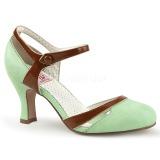 Verde 7,5 cm retro vintage FLAPPER-27 Pinup zapatos de salón tacón bajo