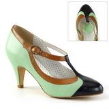 Verde 8 cm PEACH-03 Pinup zapatos de salón tacón bajo