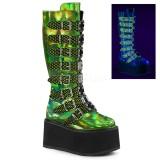 Verde 9 cm DAMNED-318 plataforma botas de mujer con hebillas