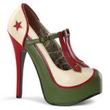 Verde Beige 14,5 cm TEEZE-43 Zapatos de tacón altos mujer