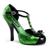 Verde Brillo 11,5 cm FESTIVE-10G Zapato Salón para Fiesta con Tacón