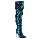 Verde Lentejuelas 13 cm COURTLY-3011 botas altas pleaser