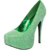 Verde Piedras Strass 14,5 cm TEEZE-06R Plataforma Zapato Salón