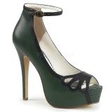 Verde Polipiel 13,5 cm BELLA-31 zapatos de salón punta abierta
