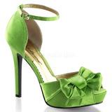 Verde Satinado 12 cm LUMINA-36 Zapato Salón de Noche con Tacón