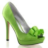 Verde Satinado 12 cm LUMINA-42 Zapato Salón de Noche con Tacón
