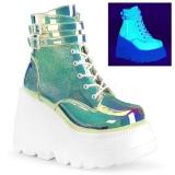 Verde neon 11,5 cm SHAKER-52 lolita botines cuña alta plataforma
