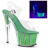 Verde purpurina 18 cm Pleaser ADORE-708UVG Zapatos con tacones pole dance
