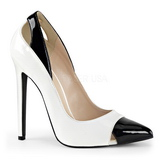 White Shiny 13 cm SEXY-22 Low Heeled Classic Pumps Shoes