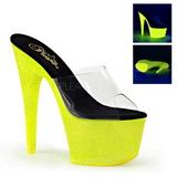 Yellow 18 cm ADORE-701UVG neon platform mules womens