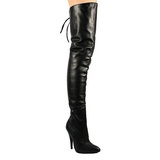 Black Leather 13 cm LEGEND-8899 Overknee Boots Flat Heels