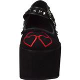 corazón lona 8 cm CLICK-02-1 zapatos góticos calzados suela gruesa