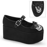 cráneo lona 8 cm CLICK-02-3 zapatos góticos calzados suela gruesa