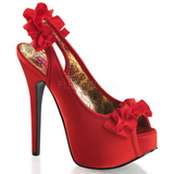 Red Satin 14,5 cm TEEZE-56 Platform High Heeled Sandal Shoes