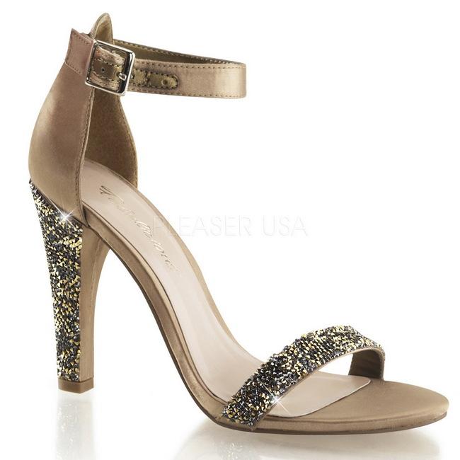 CLEARLY-436 sandalias tacón alto oro talla 41 - 42